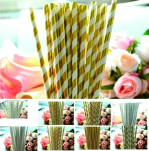 25pcs/lot Gold /Silver Foil Stripe  Paper Straws for birthday wedding decorative party event supplies Creative Drinking Straws