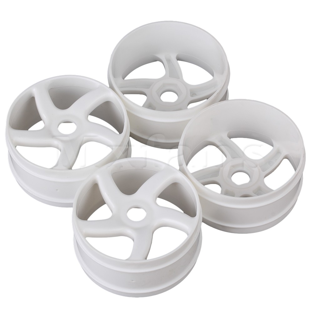 Mxfans 4x White 17mm Wheel Drive Hex Plastic 5 Spoke Wheel Rim for RC 1:8 Off Road Car mxfans green upgrade 12mm dia t10122 rc1 8 buggy wheel hex mount kit 12pcs in one set