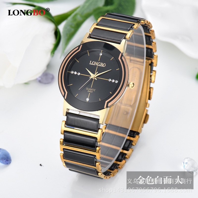 New Brand Luxury Lover's Couple Watches Quartz Wristwatches Gold Stainless Steel and Cearmic Band Watches Relogio Feminino clock
