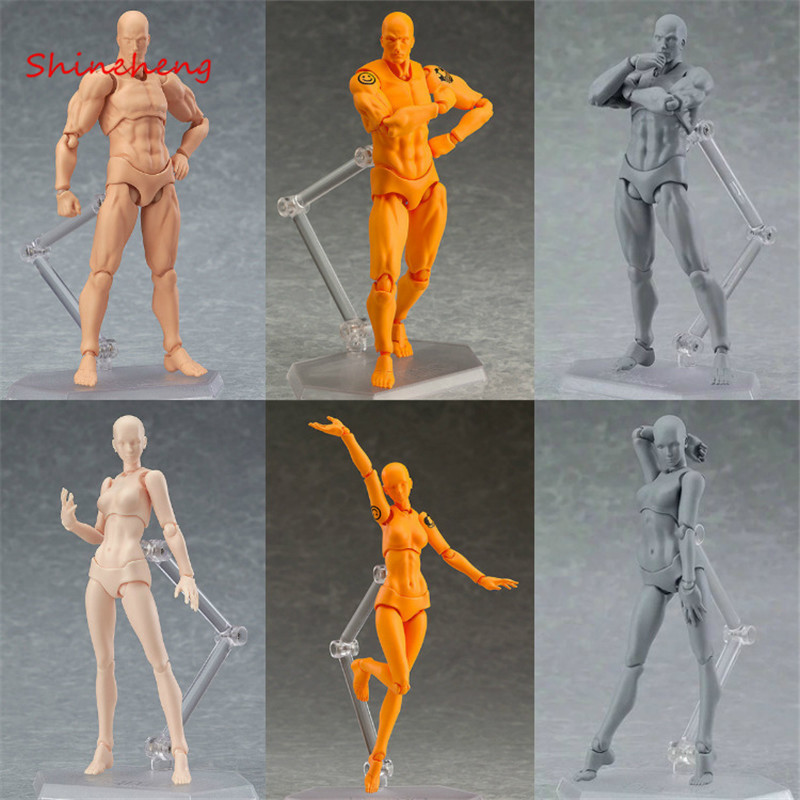 SHINEHENG Figma Archetype He She PVC Action Figure toy Human Body Joints Male Female Nude Movable Dolls Anime Models archetype transparent ver she
