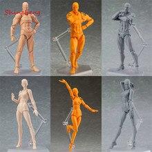 SHINEHENG Figma Archetype 그는 그녀 PVC 액션 그림 장난감 인간의 신체 관절 남성 여성 누드 움직이는 인형 애니메이션 모델