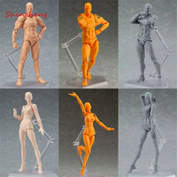 SHINEHENG Figma Archetype He She PVC Action Figure Toy Human Body Joints Male Female Nude Movable