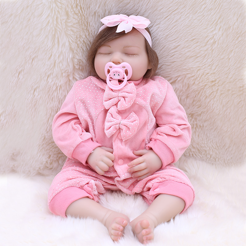 OtardDolls Silicone Reborn Dolls Toys for Girls real Alive baby Doll pink sleeping clothing set bebe reborn menina de silicone