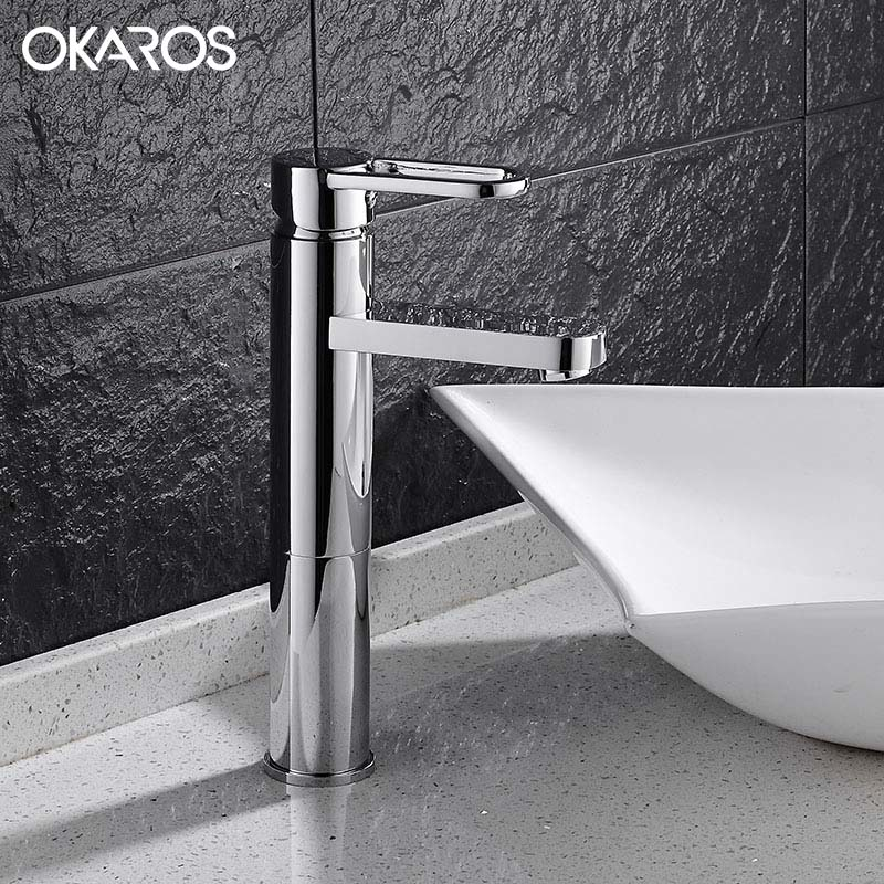 OKAROS Contemporary Bathroom Basin Faucet Heighten Chrome Finish Solid Brass Single Handle Hot Cold Water Tap Mixer Torneira micoe hot and cold water basin faucet mixer single handle single hole modern style chrome tap square multi function m hc203