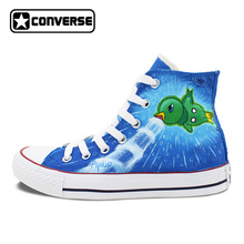Converse Chuck Taylor Shoes Brand Sneakers Hand Painted Pokemon Piplup Empoleon Anime Shoes Men Women All Star Shoe