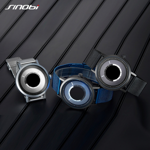 Image 4 - SINOBI Hohe Qualität Einzigartige Drehen Kreative Uhr herren Stahl Mesh Band Quarz Armbanduhren Sport Blau Mann Uhr Reloj Hombre