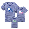 Family Look New 2016 Summer Family Clothes Navy Style Blue Striped Parent Child Matching T-shirts Dad Mom Baby Outfits tyh-50769
