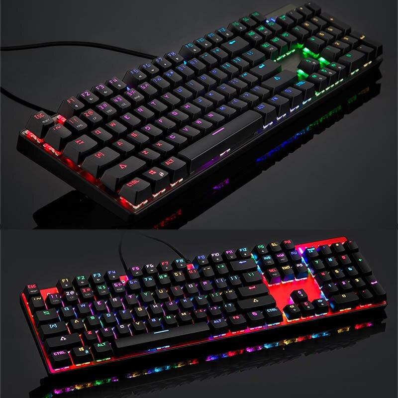 Clavier mécanique filaire USB 104 touches LED clavier de jeu rétro-éclairage rvb pour ordinateur QJY99