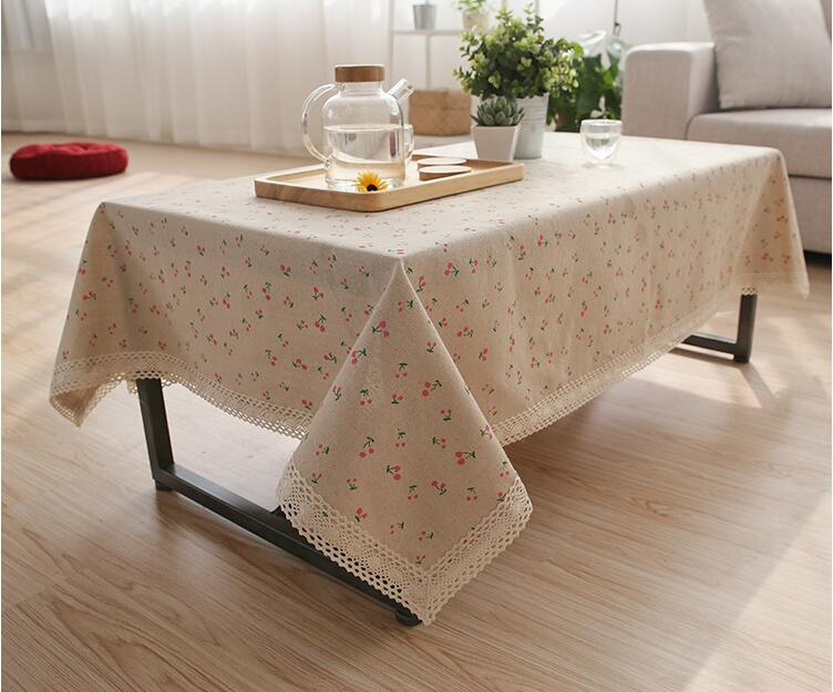 Linen Cotton Table Cloth Daisy Cherry Pattern Rectangle Tablecloth Pastoral  Dustproof Dining Table Cover Decoration Home
