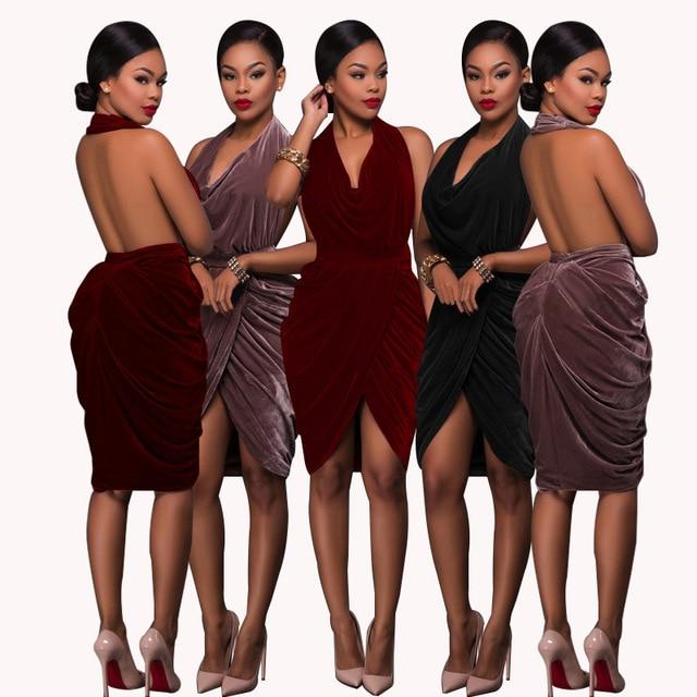 Woman Dress Velvet Plus Size Backless Dress Summer Glitter Ladies