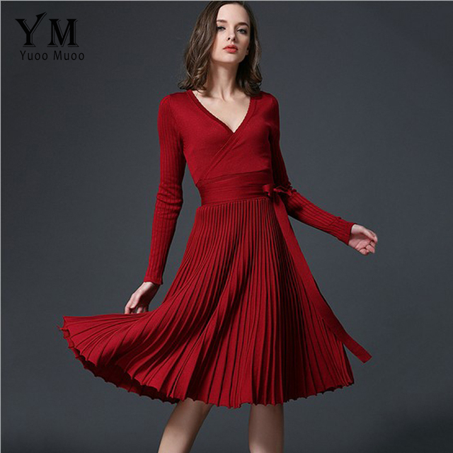 YuooMuoo European Design Elegant Autumn Dress V-neck Women Casual Long Sleeve Knitted Dress Brand Fashion Pleated Ladies Dreses