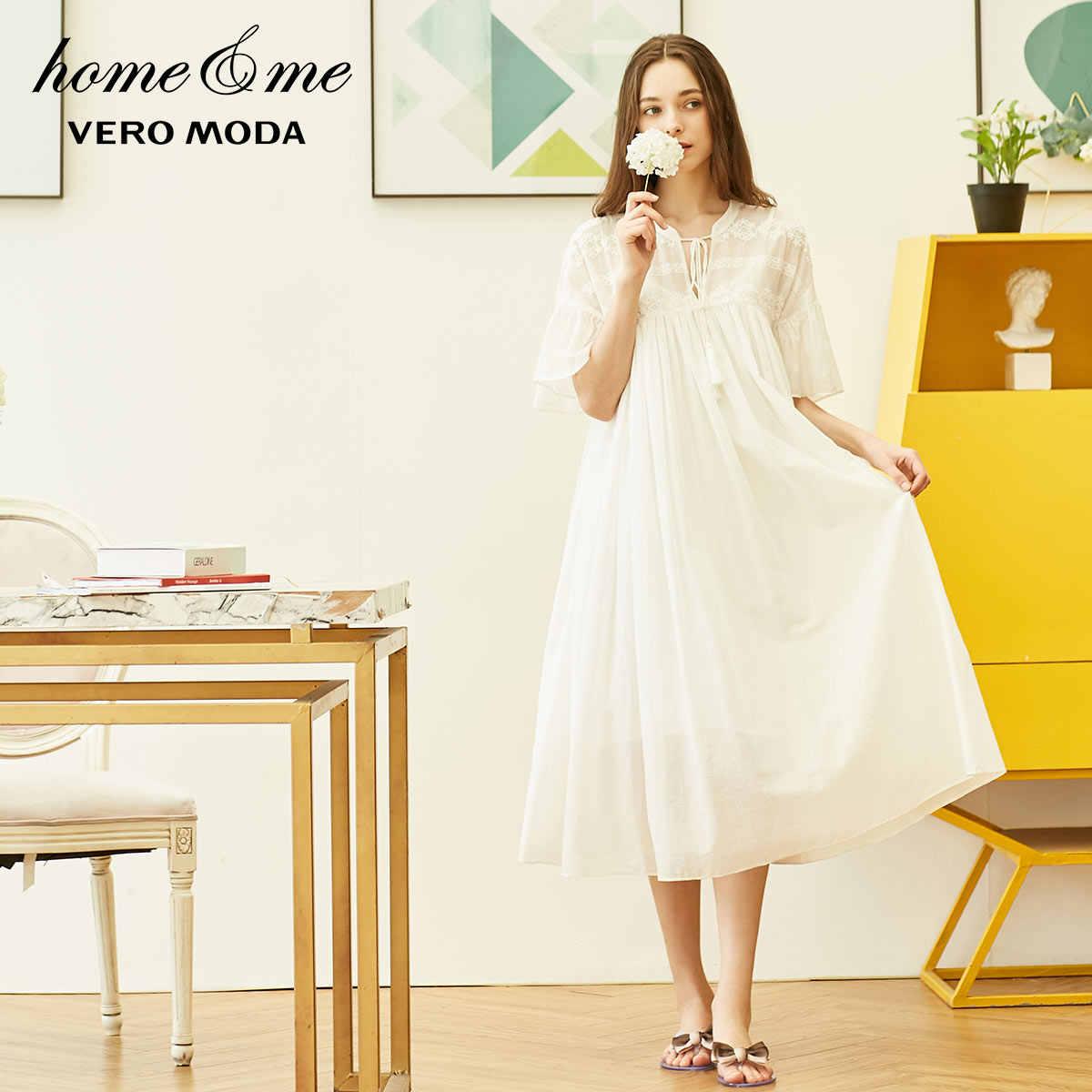 Vero Moda 2019 Новое Женское Королевское Платье с вышивкой в национальном стиле с расклешенными рукавами удобное домашнее платье   31917B508