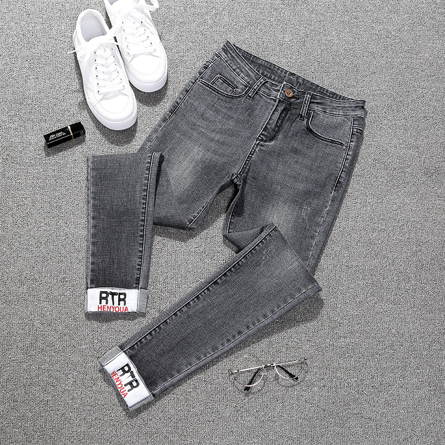 High Waist Ankle-Length   Jeans   Women 2018 Autumn Embroidered Washed Denim Straight Ankle Length Trousers Women Pants Plus Size