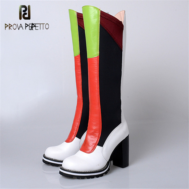 Prova Perfetto European Fashion Brand Genuine Leather Knee High Boots Women Popular Mixed Color Stretch Fabric Long Boots Winter цены
