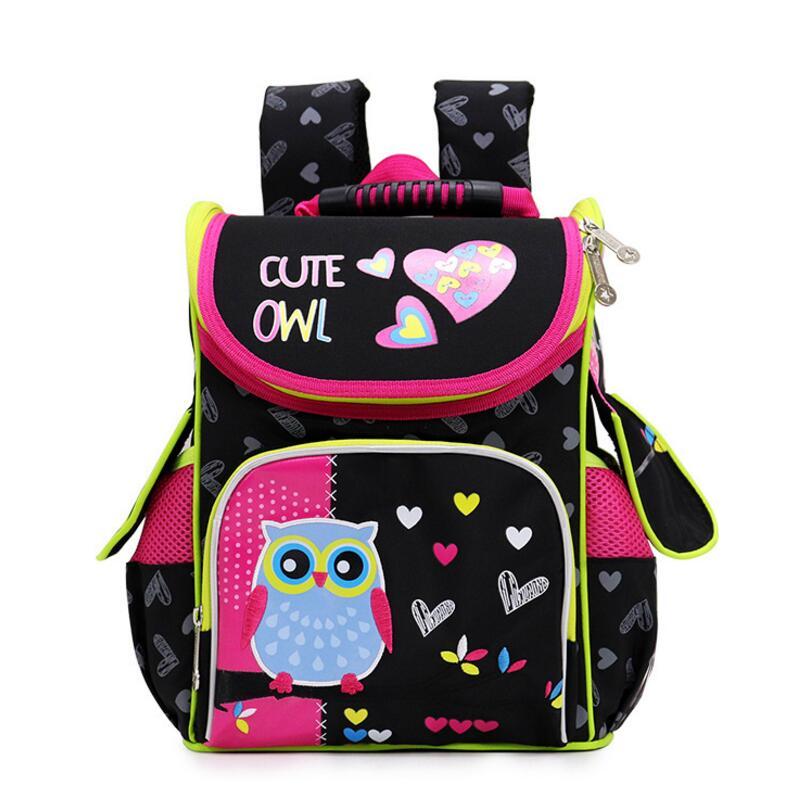 Kids Backpack For Children Girls Cartoon Cat Owl School Knapsack Boys Large Capacity Orthopedic School Bag