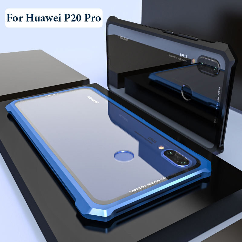 For Huawei P20 Pro Case Protective Aircraft Bumper Metal Screw Cell Phone Case For P20 Lite with Transparent Back Tempered Glass