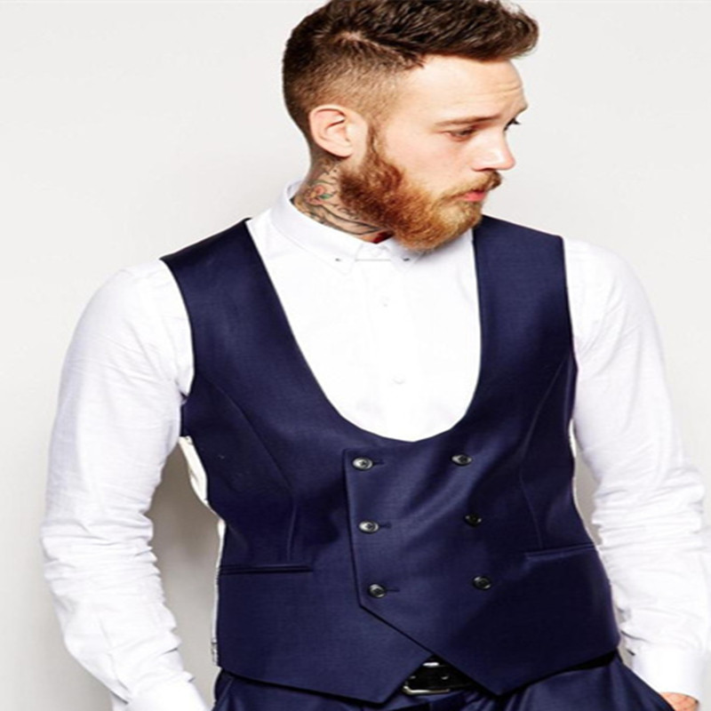 2018-Nouveau-Mari-Gilet-Marine-Bleu-Groomsmens-Meilleur-Homme-Vest-Custom-Made-Taille-et-Couleur-Double