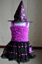 Halloween witch costumes kids little girls costumes hat is included