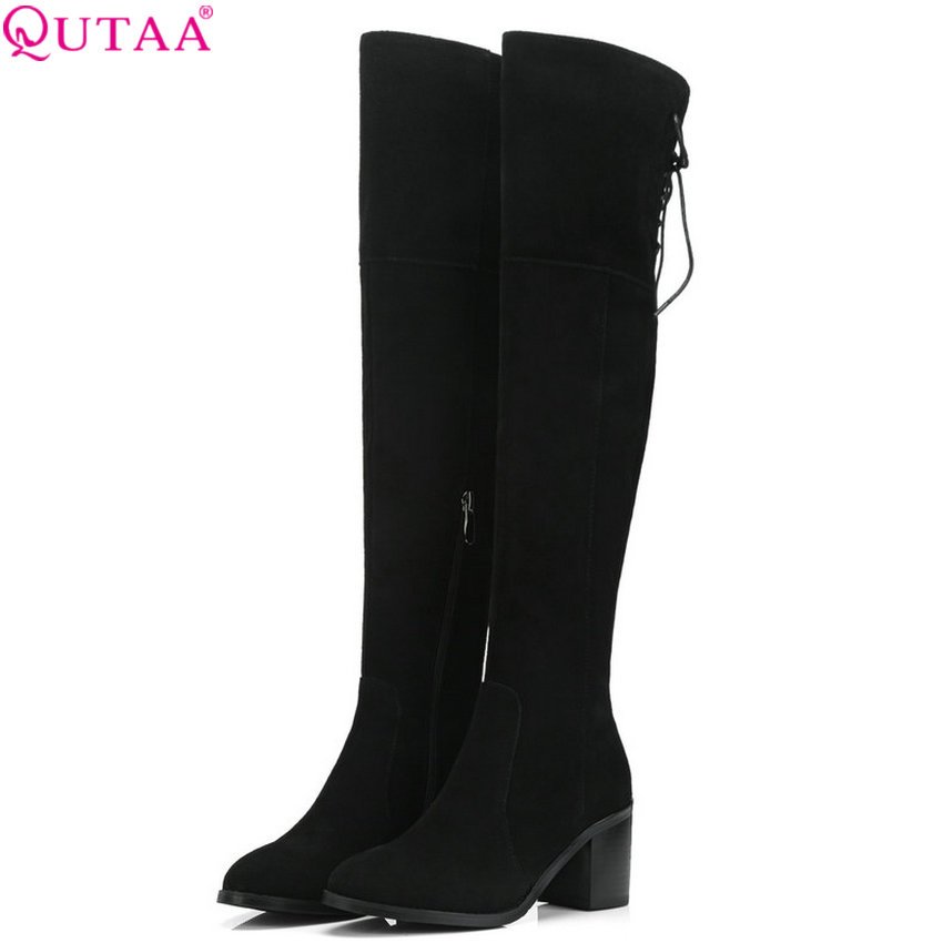 QUTAA 2019 Women Shoes Cow Suede Over The Knee High Boots Platform Winter Boots Square Heel Fashion Women Boots Big Size 34-39QUTAA 2019 Women Shoes Cow Suede Over The Knee High Boots Platform Winter Boots Square Heel Fashion Women Boots Big Size 34-39