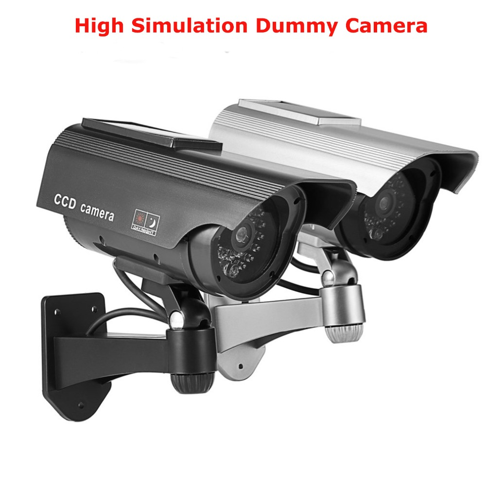 Solar Powered Fake Camera Dummy Camera High Simulation CCTV Camera Home Security Surveillance Camera With Led Red Light Flashing