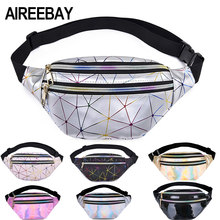 AIREEBAY Holographic Waist Bags Women Pink Silver Fanny Pack Female Belt Bag Black Geometric Waist Packs Laser Chest Phone Pouch(China)