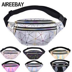 AIREEBAY голографическая поясная сумка женская розовая Серебряная поясная сумка Женская поясная сумка черная Геометрическая поясная сумка