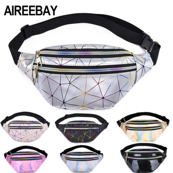AIREEBAY Holographic Waist Bags Women Silver Fanny Pack Female Belt Bag Black Geometric Packs Laser Chest Phone Pouch - discount item  20% OFF Women's Handbags