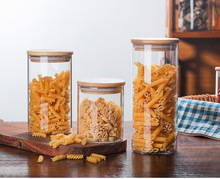 1PC Glass Food Storage Bottle Bamboo Cover Sealed Grains Nuts Tank Can Kitchen Sorting Food Storage Box Container JM 004