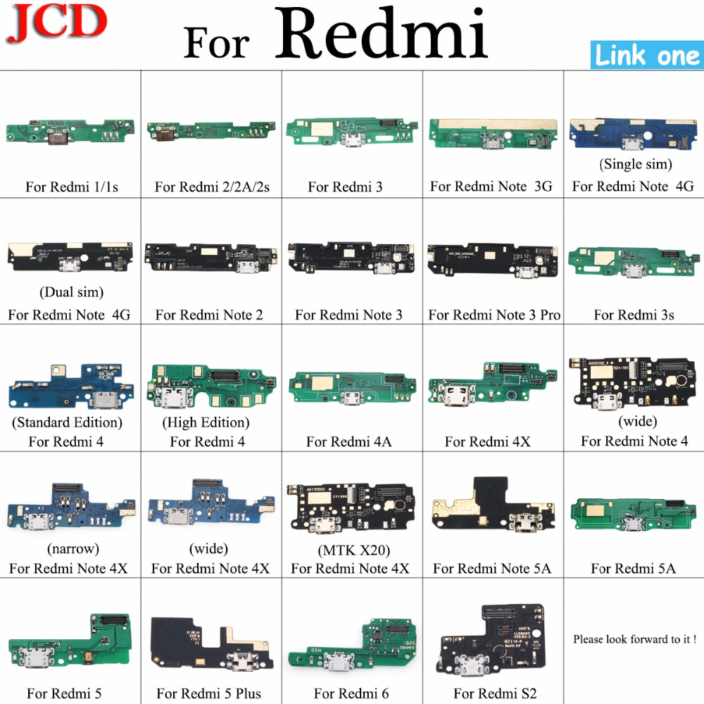 JCD New Micro Dock Connector Board USB Charging Port Flex Cable For Xiaomi For Redmi 1 2 3 3s 4 4X 4A Note 2 3/3Pro Replacement