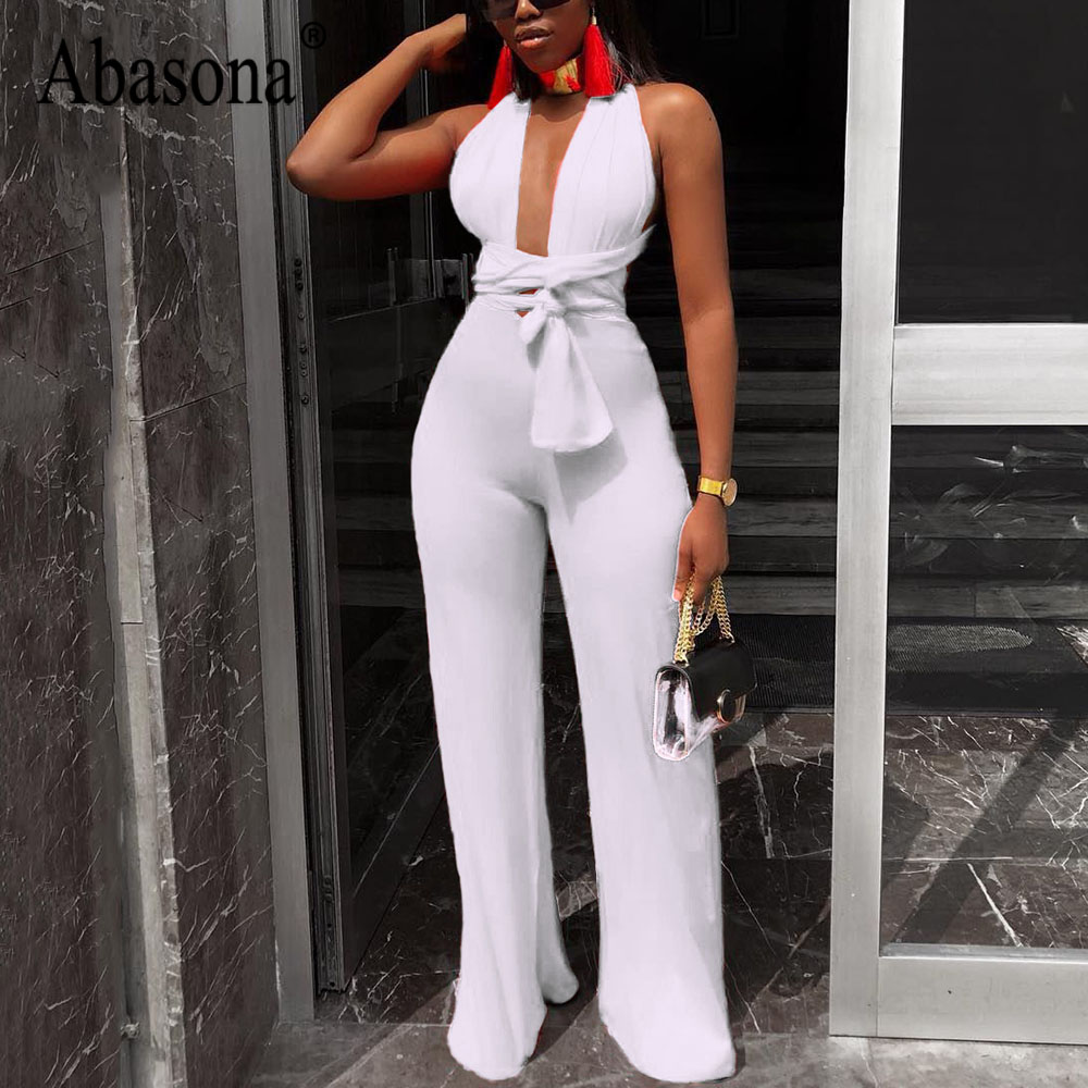 Abasona Sexy Lace Up Halter Black White Rompers Womens   Jumpsuit   Long Pants Deep V Neck Sleeveless Party Woman   Jumpsuits   Overalls