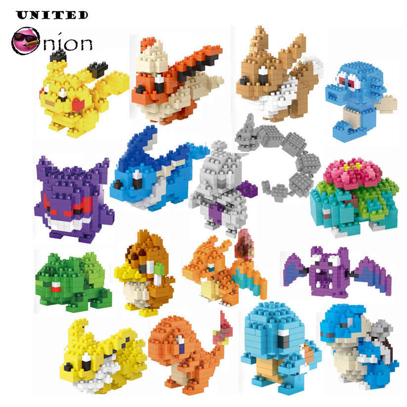 TOP!!! LNO Blocks educational Charizard Bulbasaur Squirtle Venusaur WITH RETAIL BOX anime doll kids toy birthday gift