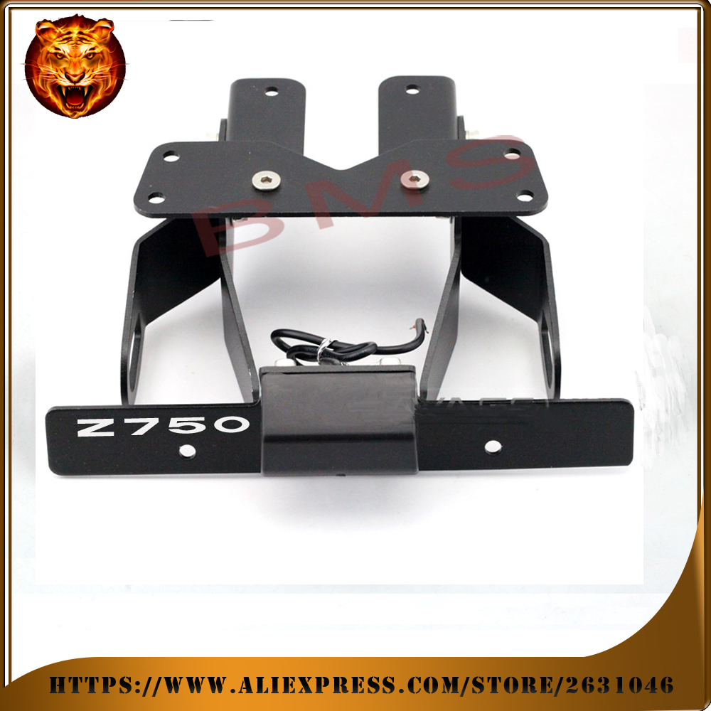 Motorcycle Tail Tidy Fender Eliminator Registration License Plate Holder bracket LED Light For KAWASAKI Z750R Z750 free shipping for suzuki gsxr1000 2007 2008 motorcycle licence plate bracket tail tidy rear fender eliminator billet aluminum