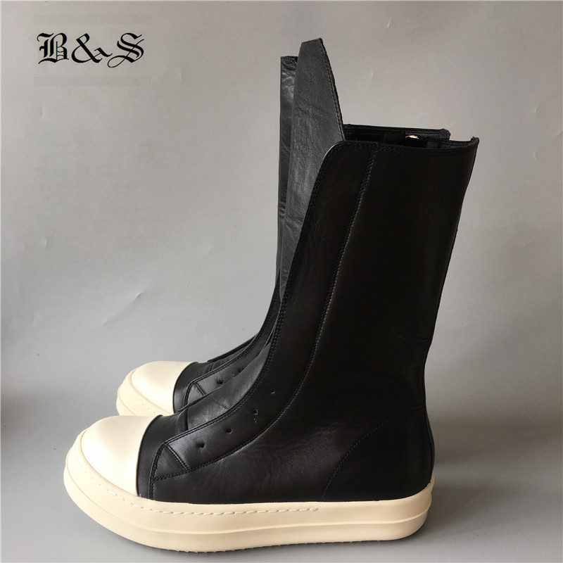 Rick Rock 2018 High-TOP Women Boots Luxury Trainers Genuine Leather Boots Casual Sneaker Lace-up Zip Flats Black White Shoes owen seak women shoes high top ankle boots genuine leather luxury trainers sneaker casual lace up zip flat shoes black white big