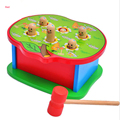 Wooden Hammering Bench Children Noise Maker Toy Hammer Coloured Wood Pegs Game Cute Mouse Baby Toy Gifts