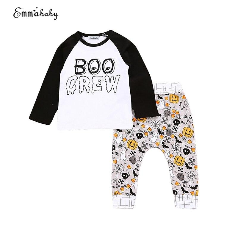 Хэллоуин Детские Одежда Юнисекс милый комплект для новорожденных для маленьких мальчиков девочек Топы корректирующие штаны с рисунком Лег...