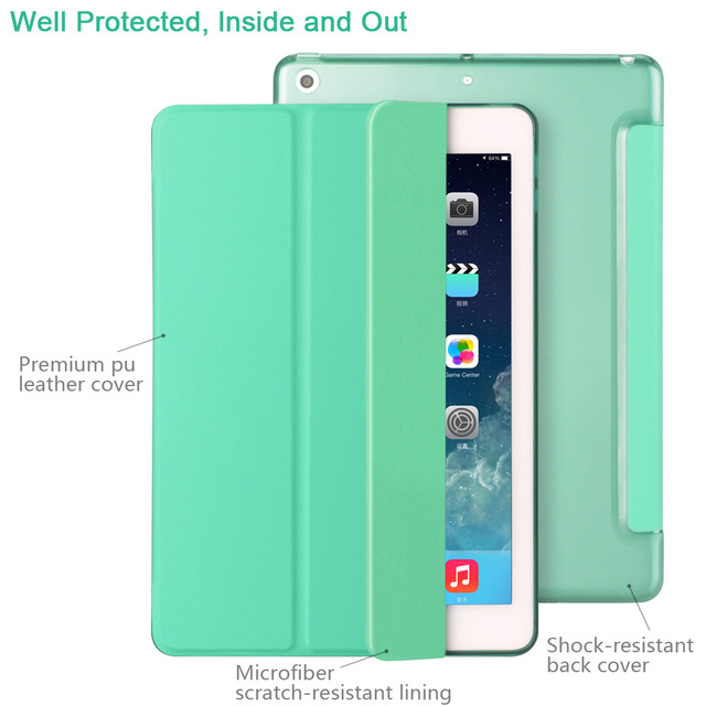 Case for New iPad 9.7 inch 2017 2018 Model A1822 A1823 A1893 , ZVRUA YiPPee Color PU Smart Cover Case Magnet wake up sleep 5