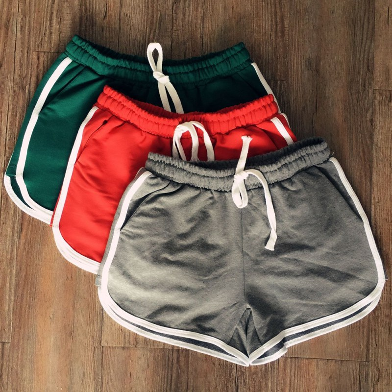 Women Spring Casual   Short   Leisure Elastic Waist Drawstring   Shorts   With Pocket Feminino Clothes