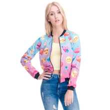 Zohra 2016 3D Print Emoji Spring Coat Women Jacket Casual Bomber Short Jackets Slim Brand 3d Jacket Autumn Feminino Outwear