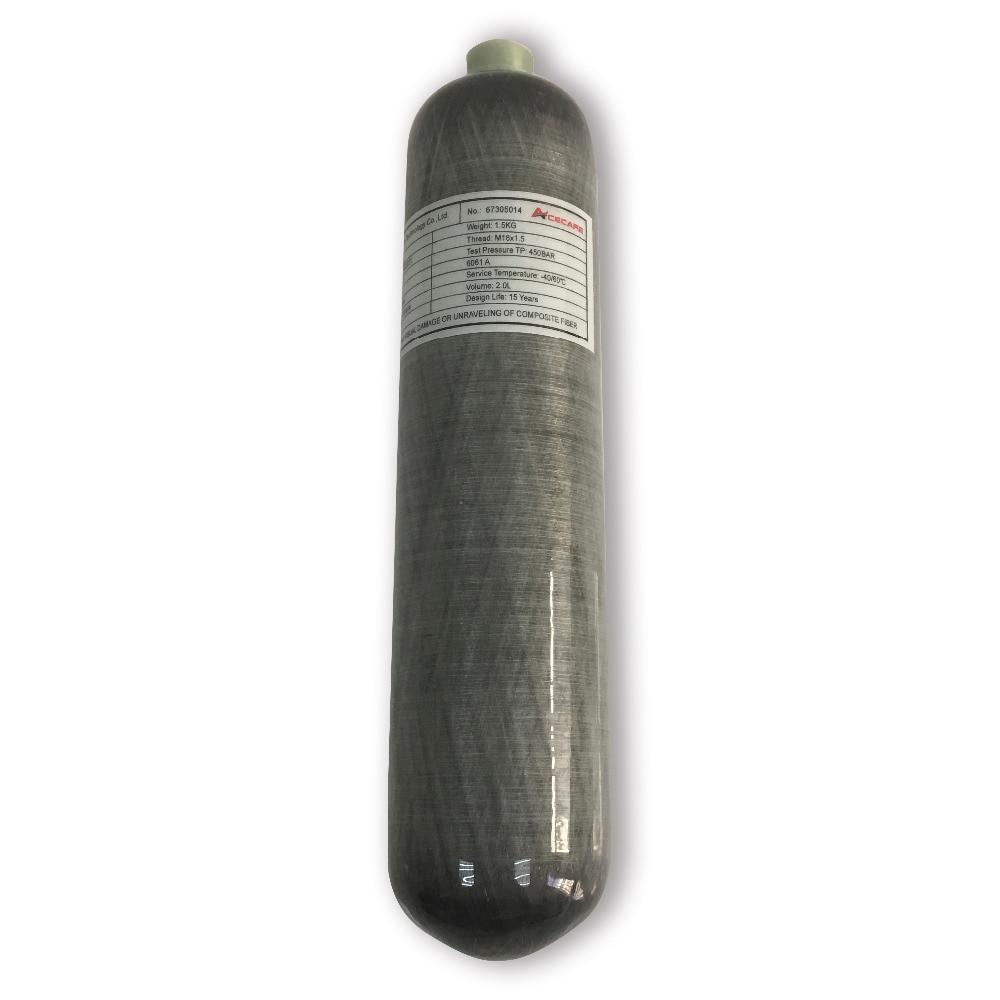 2018 New Fashion! 2L Carbon Fiber Air Cylinder/Scuba Diving Bottle/Pcp Air Rifle Paintbal Tank 300bar With Quality Assured -V