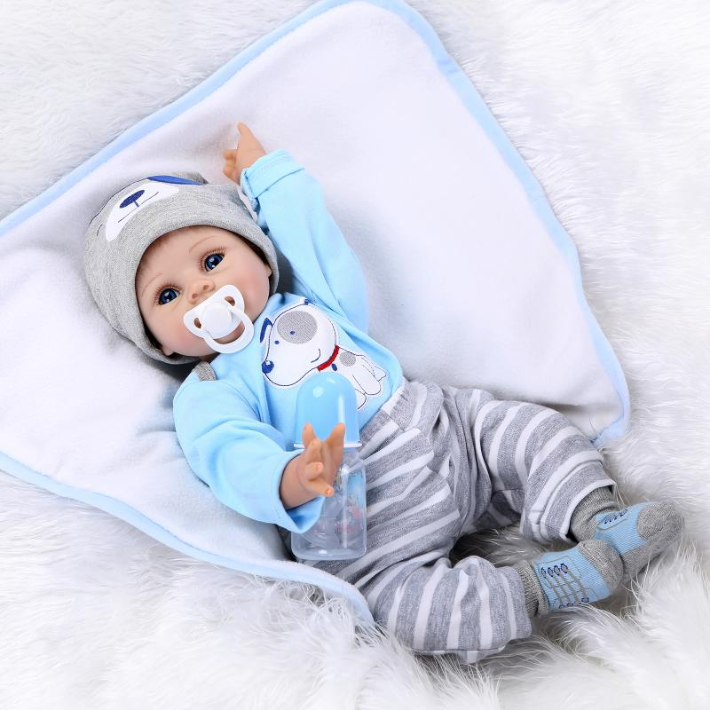 ФОТО Kawaii BeBe Reborn Doll Toys 55cm Soft Silicone Reborn Dolls PP Cotton Body 22inch Realista Newborn Baby Doll Gift Brinquedos