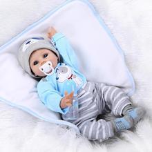 Kawaii BeBe Reborn Doll Leksaker 55cm Mjuk Silikon Reborn Dolls PP Bomull Kropp 22inch Realista Nyfödd Baby Doll Present Brinquedos