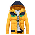 Mens Winter Jackets And Coats Hooded Hat Detachable Colorful Patchwork Slim Korean Cotton Padded Warm Parka Quilted Jacket Brand