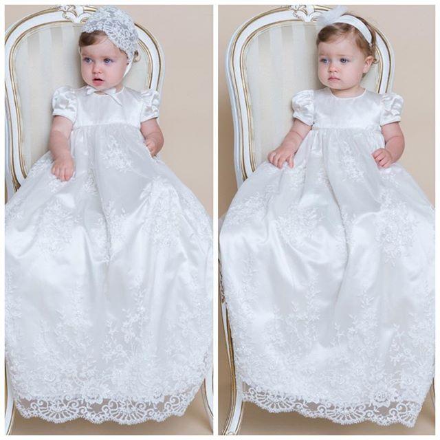 c0b8690dd5efa Blanc   ivoire dentelle robes de baptême pour bébé garçon filles longues  belle baptême robes avec bonnet