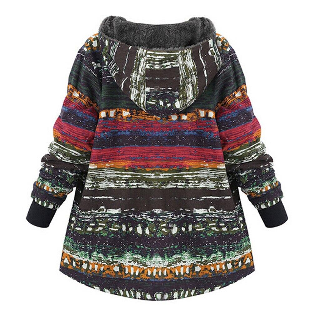 Vintage สุภาพสตรีขนแกะหนาเสื้อหัวเข็มขัดฤดูใบไม้ร่วงเสื้อขนสัตว์ฤดูหนาวเสื้อแจ็คเก็ตผู้หญิงสบายๆ States United 5