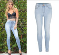 2015 New stretch skinny pencil jeans high waist sky blue washed denim pants trousers full length XXL women woman