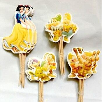 Astounding 72Pcs Cute Princess Cinderella Cupcake Toppers Pick Snow White Birthday Cards Printable Inklcafe Filternl