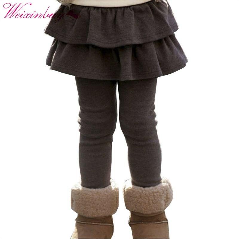 Autumn Winter Warm Cute Child Leggings Kids Culottes Cake Tutu Ruffle Pants Girls Skirt Trousers plaid ruffle trim skirt