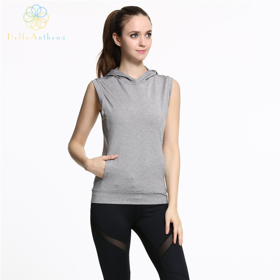 Hello Anthena Women s Sports Sleeveless Hoodie Sweatshirt Polyester Spandex Workout Durable Pullover Vest font b