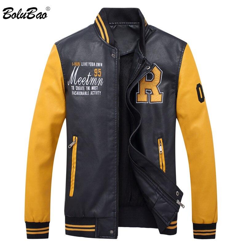 BOLUBAO Men Baseball Leather Jackets Autumn Men's Hip Hop Faux PU Jacket Coats Male Streetwear Leather Jackets Overcoat