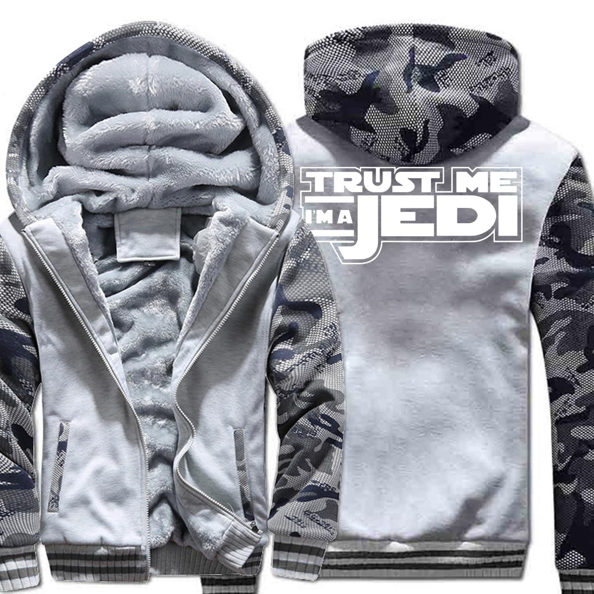 HAMPSON LANQE Star Wars I'm A Jedi Movie Jackets For Men 2019 Winter Warm Fleece Sweatshirts Hoodies Men Thicken Hooded M-5XL